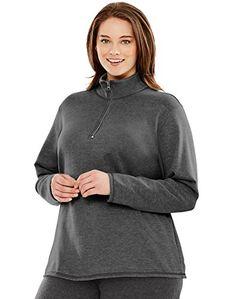 Fashion Bug Just My Size Womens Mock-Neck Quarter-Zip Lightweight Fleece Pullover #FashionBug #PlusSize #Sweaters www.fashionbug.us