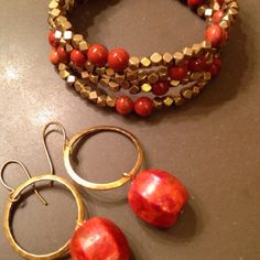 Sponge Coral earrings and vintage Gold beads and Jasper wrap Bracelet by Hana Wear www.hanawear.com