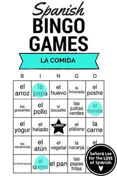 Spanish Food Vocabulary | 40 Spanish Bingo Cards to practice 35 Spanish food vocabulary words. Instant, no-prep activity! #spanishbingo #spanishfoodvocabulary #comida