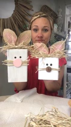 DIY Easter Wood Crafts which are a result of Labour, Love And Patience – Hike n Dip Kids Crafts, Bunny Crafts, Wood Crafts, Diy And Crafts, Diy Wood, Recycled Crafts, Easter Crafts For Adults, Easy Crafts, Spring Crafts