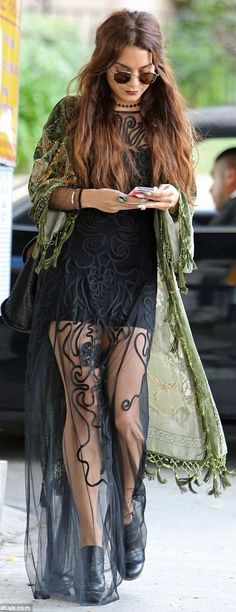 Vanessa Hudgens Black Maxi Hippie Dress @Abbie Barnes Barnes Barnes Barnes Moody she actually has like the best style ever...