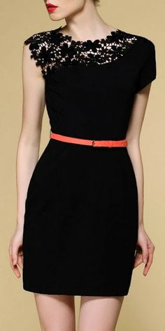 Adorable black lace shoulder top with belt