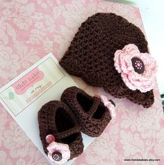 photos of amazing crocheted baby gifts | Baby Girl Shower Gift Set - Crochet Scalloped Edge Beanie and Mary ...