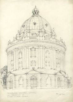 Thomas Rayson - 1910 Graphite Drawing, Radcliffe Camera, Oxford