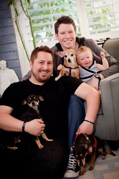 """""""The Guncles"""" (from """"Tori and Dean: Home Sweet Hollywood"""") with their 3 rescue dogs! http://www.dogtipper.com/blog/2012/04/the-guncles-talk-about-dogs.html"""