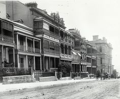 Terrace houses on Macquarie Street, c 1890 (State Records of NSW)