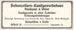 Original-Werbung/ Anzeige 1909 - HOHENZOLLERN - KUNSTGEWERBEHAUS FRIEDMANN & WEBER - BERLIN - ca. 135 x 50 mm
