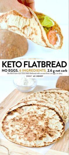 Coconut Flour flatbread - vegan + keto tortillas - Sweetashoney - KETO FLATBREAD NO eggs, Coconut flour, 4 ingredients - Low Carb Bread, Low Carb Keto, Low Carb Recipes, Diet Recipes, Cooking Recipes, Bread Recipes, Coconut Flour Recipes Low Carb, Bread Diet, Keto Fat