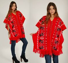 Vintage 70s ETHNIC Poncho Unique Folk REINDEER by LotusvintageNY, $68.00