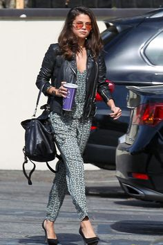 Selena Gomez wearing Zara Cut-Out Asymmetric Faux Suede Platform Pumps Frye Jenny Backpack Free People Printed Sunset Jumpsuit