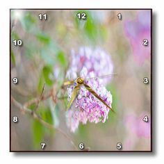 3dRose dpp_51949_1 A Bush in Focus with The Background in Lilac and Green Out of Focus with Leaves and Flower Buds Wall Clock, 10 by 10-Inch...