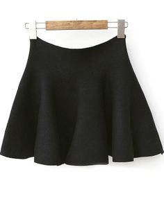 Black High Waist Slim Pleated Knit Skirt US$20.79