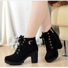 2018 New Thick High Heels Damenschuhe High Heels Damenstiefel Thick Heels und Martin Boots - K High Heel Boots, Leather Ankle Boots, Heeled Boots, Shoe Boots, Pu Leather, Women's Shoes, Black Shoes, Nike Shoes, Platform Shoes