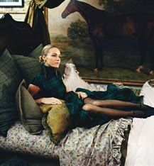 Ralph Lauren Home/ Although it is interior it ties in the the Polo brand with the flannel dress, the horse painting in the background