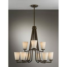Murry Feiss Tribecca bronze chandelier. Hanging in our dining room now. (ordered from Overstock initially but available elsewhere as well)