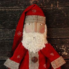 Primitive Christmas Folk Art Santa Doll, Handmade Santa Doll, Christmas Doll…