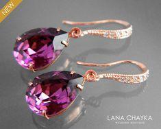 Bridesmaid Jewelry Sets, Bridal Jewelry Sets, Bridesmaid Earrings, Bridal Earrings, Gold Earrings, Rose Gold Wedding Jewelry, Purple Jewelry, Gold Jewelry, Jewelry Gifts