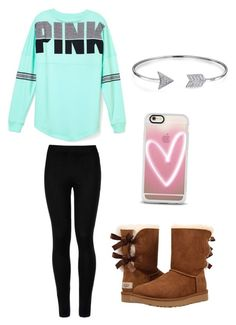 """""""Cold day out"""" by maddy-jennings on Polyvore featuring Wolford, Victoria's Secret PINK, UGG Australia, Casetify and Bling Jewelry"""