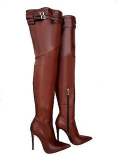 CQ COUTURE CUSTOM OVERKNEE BOOTS STIEFEL STIVALI SHOES LEATHER BELT MARRONE  40 6217710dcae