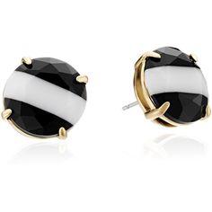 "kate spade new york ""The Right Stripe"" Black/White Multi-Colored Stud... ($58) ❤ liked on Polyvore featuring jewelry, earrings, colorful earrings, colorful stud earrings, kate spade earrings, stud earrings and 14 karat gold earrings"
