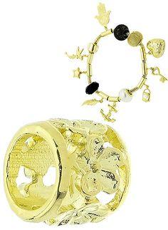 Berloque separador folheado a ouro c/ detalhes em forma de flor. www.joiasfolheadasdiretodafabrica.tk