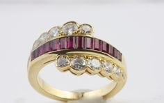 Van Cleef & Arpels Ruby Diamond Gold Ring   From a unique collection of vintage fashion rings at http://www.1stdibs.com/jewelry/rings/fashion-rings/