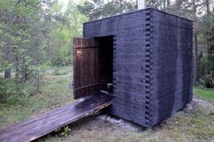 Outdoor Sauna, Outdoor Baths, Jungle House, Forest House, Black Architecture, Architecture Design, Sauna Wellness, Sauna House, Sauna Design