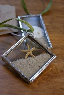 Real starfish and sand dollars are encased with Cape Cod sand into glass and soldered to make these one of a kind beach ornaments