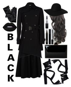 """""""#Women In Black"""" by banana0307 ❤ liked on Polyvore featuring Brunello Cucinelli, Comme des Garçons Homme, Tommy Hilfiger, Monki, Lime Crime, Gucci and MAC Cosmetics"""
