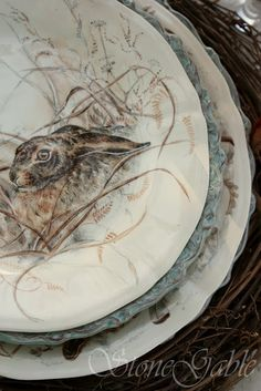 StoneGable: Woodland Tablescape - what a charming plate!