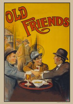 Old Friends in the Pub - Beer Advertising Poster A3 A4