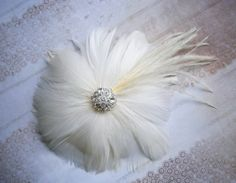 Ivory wedding hair flower, Bridal Fascinator Head Piece, Feather Hair PIece, Wedding Hair Accessory, ivory, ostrich - IVORY BLOSSOM. $39.00, via Etsy.