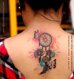 Custom Dreamcatcher tattoo by Akash Chandani @the_inkmann People are loving Akash's watercolour style.. She traveled all the way from Jabalpur to get this done by Him. much love At - SKIN MACHINE TATTOO STUDIO. Bhopal. India Hope you guys like this too Email for bookings- skinmachineteam@gmail.com Contact link in bio www.skinmachinetattooz.com #followme #superbtattoos #guyswithtattoos #dreamcatcher #dreamcatchertattoo #backtattoos #art #inked #inkedmen #tattooed #tattoos #f4f #getin Back Tattoos, Tattoos For Guys, Dreamcatcher Tattoos, Hamsa Tattoo, Detailed Tattoo, Inked Men, Get A Tattoo, Beautiful Tattoos, Tattoo Studio
