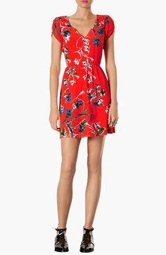 Topshop Zebra & Floral Print Tea Dress   Nordstrom