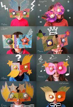 MiNiK PoRTaKaL: Kindergarten children can be made .blo … MiNiK PoRTaKaL: Creative Masks that Can Be Made to Kindergarten Children … Kids Crafts, Projects For Kids, Diy For Kids, Art Projects, Arts And Crafts, Cardboard Mask, Cardboard Crafts, Paper Crafts, Diy Paper