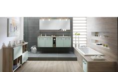 Bathroom Made-to-measure - Green tea - Loft bath mint by Schmidt. An air of serenity seems to drench this bathroom. Soft light surrounds each element, each colour. Small Tile Shower, Small Bathroom Tiles, Bathroom Tile Designs, Bathtub Shower, Bathroom Layout, Bathroom Wall Decor, Modern Bathroom Design, Bathroom Flooring, Bathroom Furniture Design