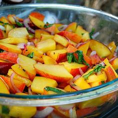 Peach & Basil Salad:  Sweet peaches, red onions, and fresh basil leaves are tossed with lemon juice salt and extra-virgin ...[read more at Food Frenzy]