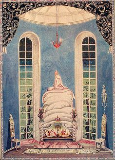 The Fairy Tales of Hans Christian Andersen, Kay Nielsen - Princess and the pea Fairytale Fantasies, Fairytale Art, Princess And The Pea, Real Princess, Kay Nielsen, Morris, Children's Book Illustration, Botanical Illustration, Chinese Art