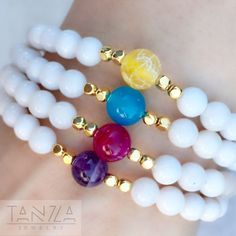 Cream Quartz and Colorful Gemstone Stretch Beaded Stackable Healing Bracelet by ShopTANZA on Etsy https://www.etsy.com/listing/478412470/cream-quartz-and-colorful-gemstone