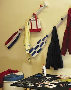 Blue Oar Paddle Wall Hanger Nautical Decor