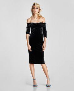 Velvet Tube dress with a crossover neckline, size L, RRP£29.99. BNWT  #zaradress #mididress #ukdresses