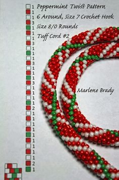 Marlene Brady.  Peppermint Twist pattern, 6 around, Size 8/0 rounds, Size 7 crochet hook & Tuff Cord #2 White