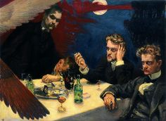 A painting by Akseli Gallen Kallela: Symposion. Characters from the left: Akseli Gallen-Kallela himself (a. Axel Gallén) and composers Oskar Merikanto, Robert Kajanus and Jean Sibelius, trying to solve the mystery of life and the art. Art Database, Triptych, Helsinki, Art History, Oil On Canvas, Graffiti, Symbols, Fine Art, Illustration