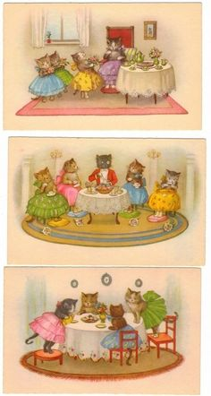 POSTCARDS (3) SOCIAL CATS IN PARTY DRESSES CHARMING ILLUSTRATIONS