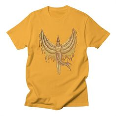 Isis, Goddess Egypt with wings of the legendary bird Phoenix by #beatrizxe | #threadless #tee #tshirt Illustration of a woman that represented to Isis, a godness of the ancient Egipt. #God #Goddess #Egipt #Isis #wing #wings #bird #legendary #Phoenix #Illustration #woman #egyptian #traditional #digital #fire  #ink #color #drawing #vintage #papyrus #pharaoh #mythology #sketch #ancient #historical