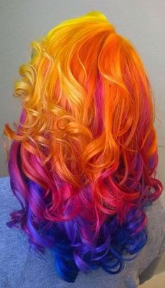 New Hair Color Bright Thoughts Ideas Hair Dye Colors, Cool Hair Color, Fire Hair Color, Sunset Hair, Bright Hair, Pastel Hair, Neon Hair, Rainbow Hair, Rainbow Pastel