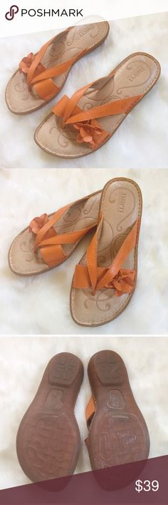 Selling this BORN Orange Thong Leather Flower Sandals on Poshmark! My username is: davias_closet. #shopmycloset #poshmark #fashion #shopping #style #forsale #Born #Shoes