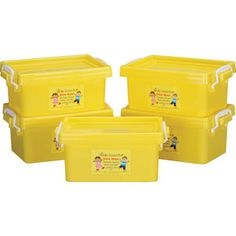 Stackable Storage Yellow Tubs With Locking Lids - Small