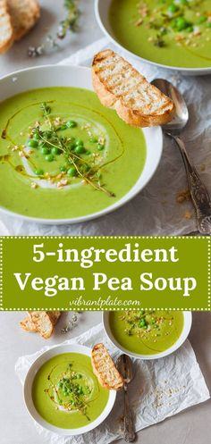 An easy radiant green Vegan Pea Soup that uses only 5 ingredients and 15 minutes to make a delicious meal! #pea #peasoup #vegan #vegetarian #glutenfree #easyrecipe #dinner #recipe