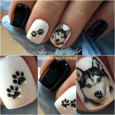 Just paint a random touch on your nails and cover it with bright nail polish. I hope to find more inspiration for your nail design Dog Nail Art, Animal Nail Art, Dog Nails, Cute Nails, Pretty Nails, Paw Print Nails, Hard Nails, Easter Nails, Toe Nail Designs